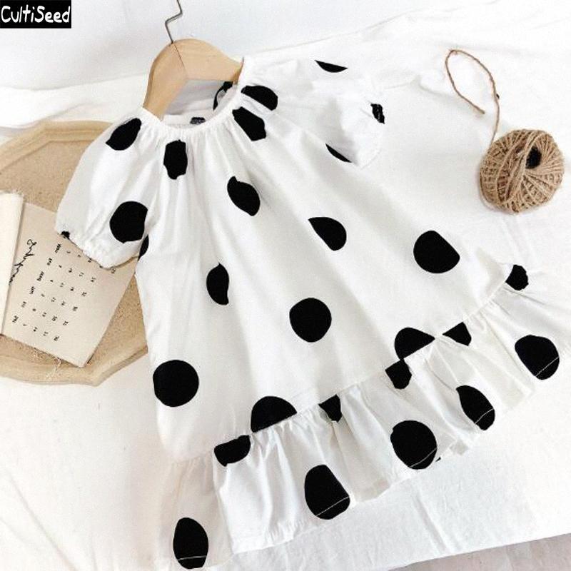 Dress Cultiseed Ragazza nera a pois bianchi Stampa vestito dal bambino delle ragazze dei bambini coreani del manicotto di soffio di compleanno principessa Kids Party 67vV #