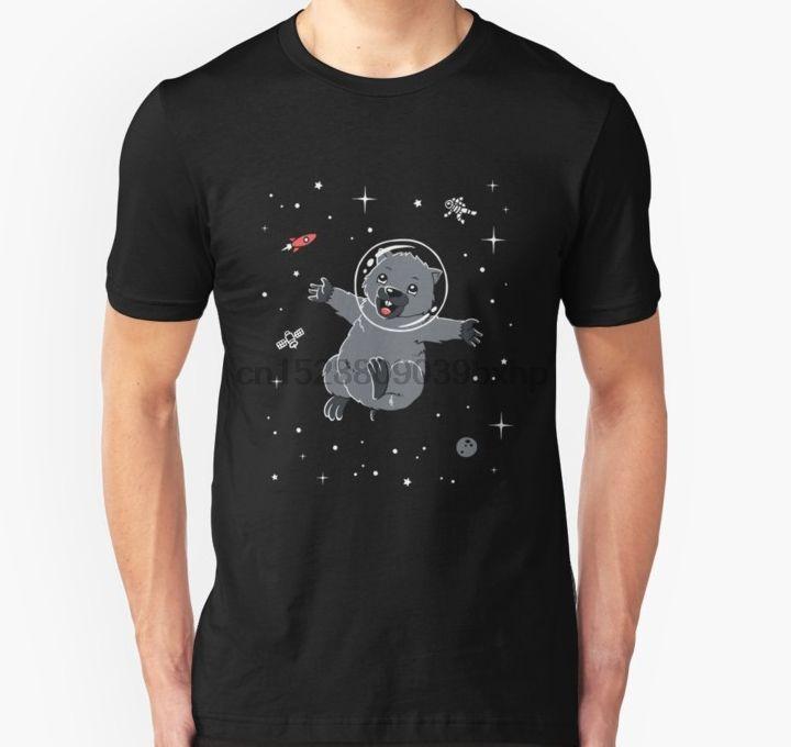 camiseta de manga corta de los hombres en el espacio de Wombat Camiseta linda del marsupial mujeres de la camiseta camiseta