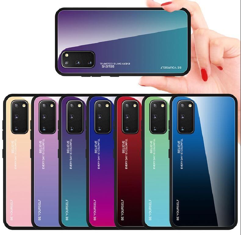 Gradient Tempered Glastelefonkoffer für Samsung A42 5G M30 A30 A50 A10S A20S M30s A90 S8 S9 Plus S10 Soft Rand Back Cover Seien Sie selbst Mode