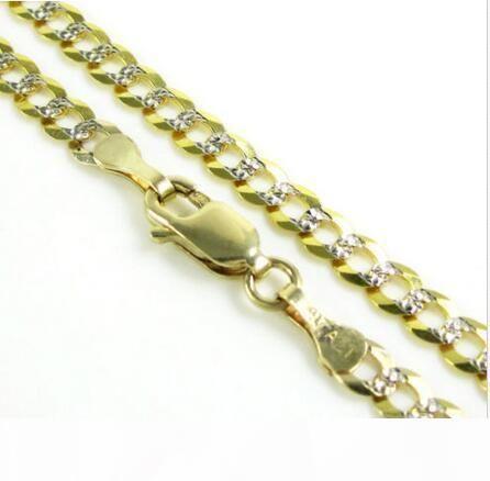 """24"""" 3,75 milímetros 8,50 Gram 10k Ouro Amarelo Miami cubana Diamond Cut Mens Colar Cadeia"""