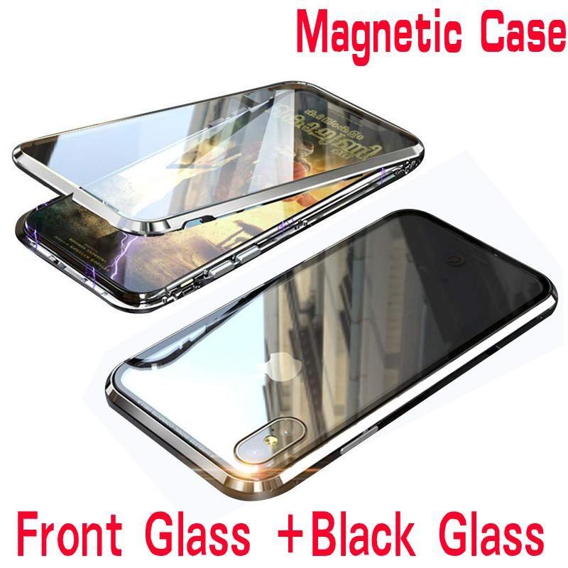 Double Side Vidro 360 Magnetic Adsorção Metal Case Para iphone 7 8 Plus telefone capa para iphone XR X XS MAX 6 6S