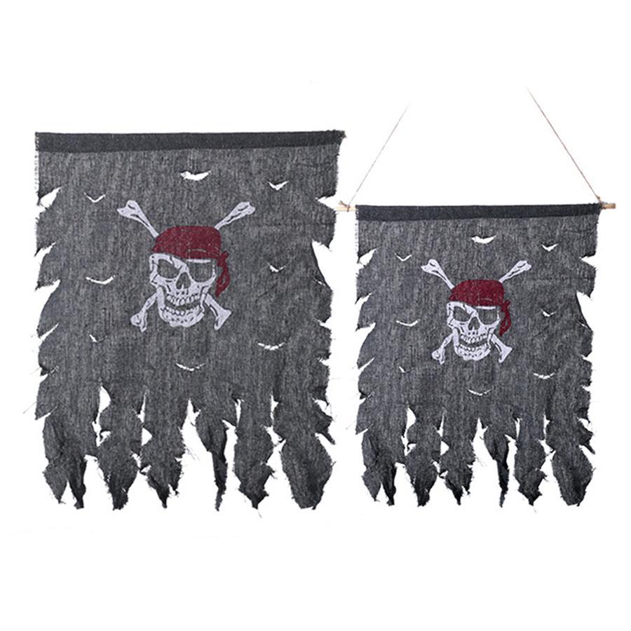 Retro Skull Crossbones Pirata Bandera Vintage Tela Jolly Roger Banderas Decoración del partido Festivales Festivales Halloween Suministros JK1909XB QECIA