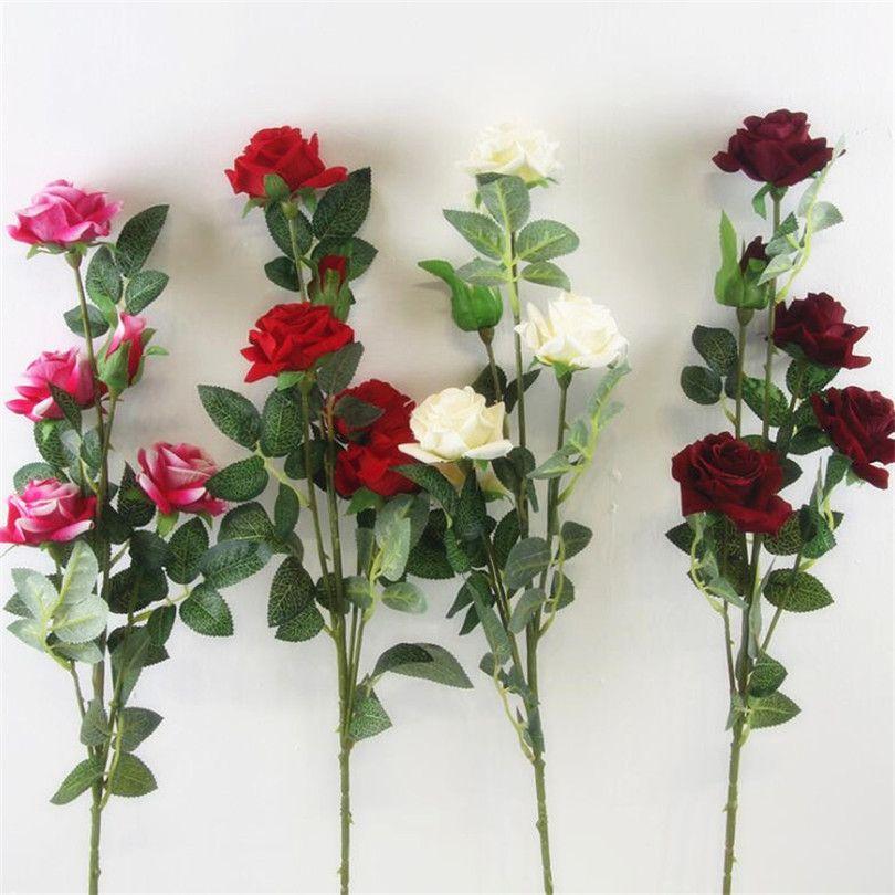 5adet yapay uzun sap simüle çiçekler / pembe / krem kırmızı 5 kafaları kadife gülleri gül / bordo renkli çiçekler Y200104 gül