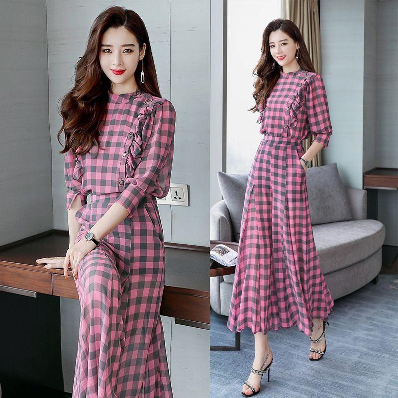 r0fHV Plaid cropped sleeve summer suit/suit in 2020 casual fashion skirt suit skirt elegant fashion elegant QMJ8079