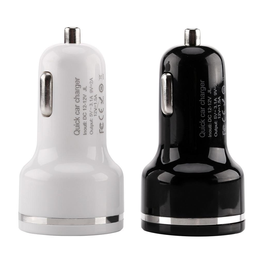 samsung s6 s7 s8 s9 pc mp3 için QC 3.0 Hızlı Hızlı Araç Şarj Otomatik güç adaptörü 5V 3.1v 9V 2A Çift USB bağlantı noktaları Hızlı Araç şarj