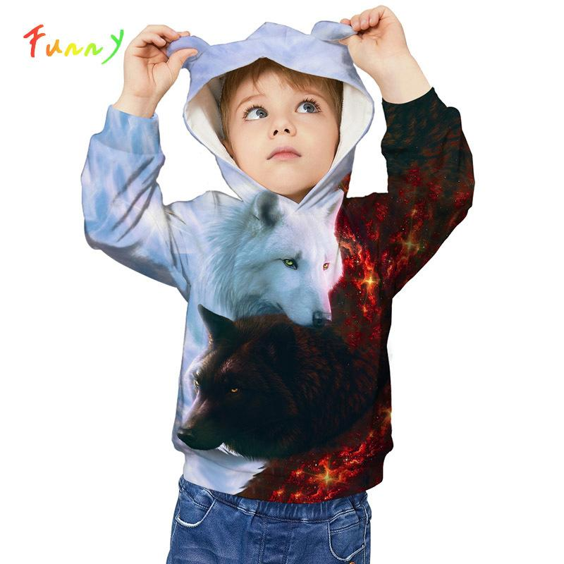 Autumn Winter Kids Hoodies Wolf Lion Animal 3D Printed Sweatshirt Kids Boys Girls Coat Cute Ears Hoody Sweat Garcon Enfant 4-12Y Y200831