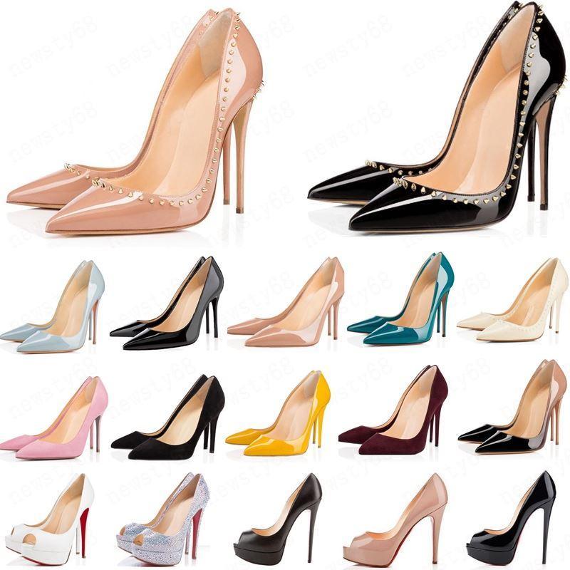 2019 الكعوب HOT أحذية للنساء الأحمر القيعان العليا مثير أشار تو الأحمر الوحيد 8CM 10CM 12CM مضخات تأتي مع شعار الغبار أكياس الأحذية الزفاف