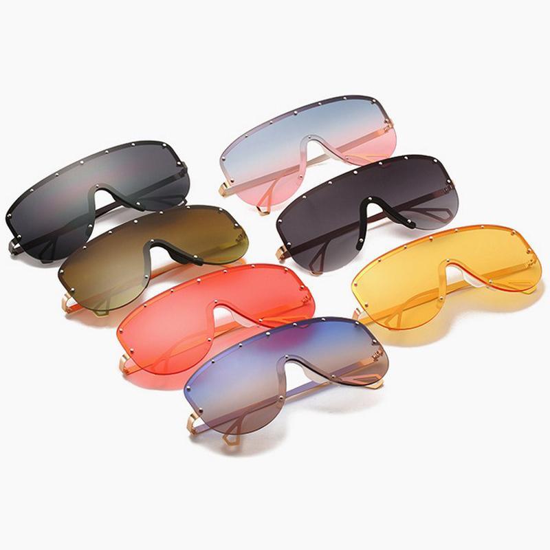 Mode grand cadre en métal lunettes de soleil à une pièce avec des lunettes de style multi-rivet femmes hommes UV400 personnalité lunettes de soleil