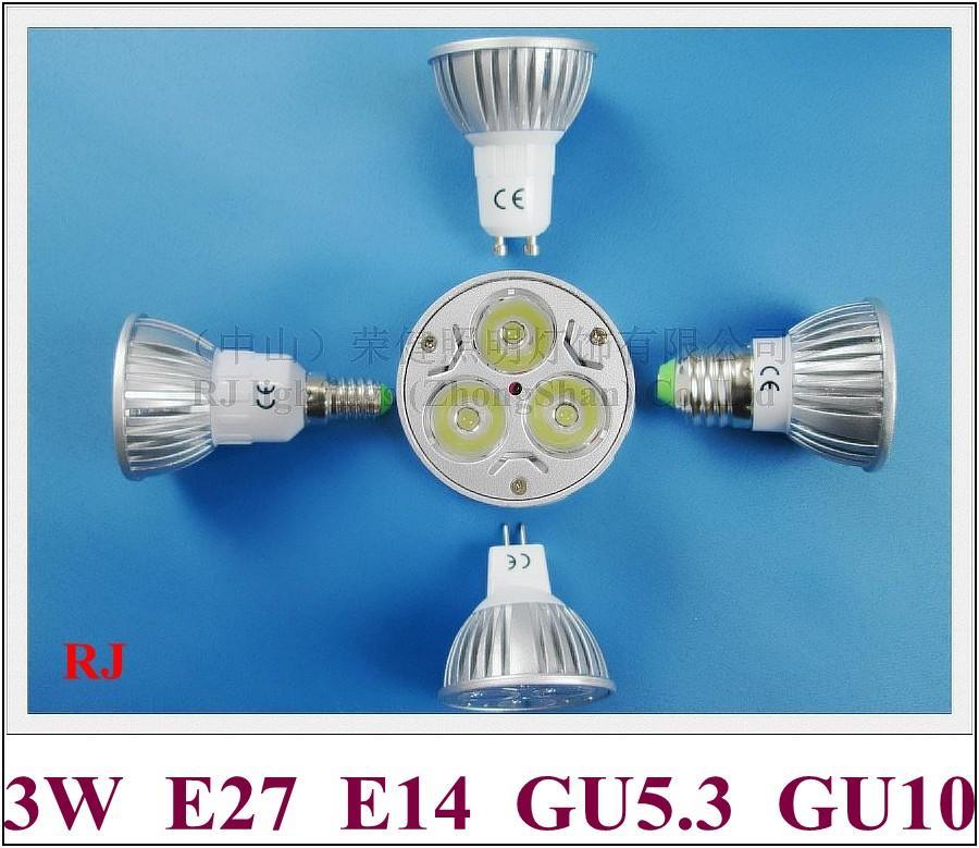 높은 전원 LED 스포트라이트 LED 스포트 라이트 3W LED 전구 조명 램프 라이트 컵 E14 / E27 / GU10 / GU5.3 (MR16) 240lm AC85-265V