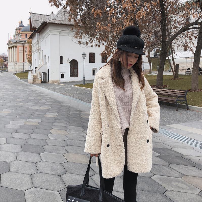 Mishow Lamb Wool Coat Female Winter Korean Loose Sheep Hair Velvet Fur Coat Jacket High Quality Streetwear Women Coat MX18D6508 T200905