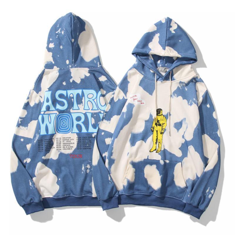 트래비스 스캇 Astroworld 유럽과 미국의 거리 패션 브랜드 느슨한 남성과 여성 커플 스웨터 긴 소매 M-XXL를 넥타이 염색