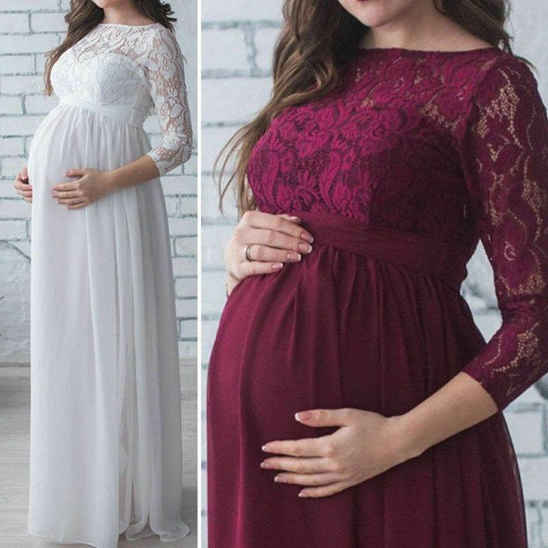 Frauen Schwangerschafts-Kleidung für schwangere Frauen Fotografie Props Spitze Kleid für Schwangere Fotosession Kleidung Schwangere Mutter Kleid