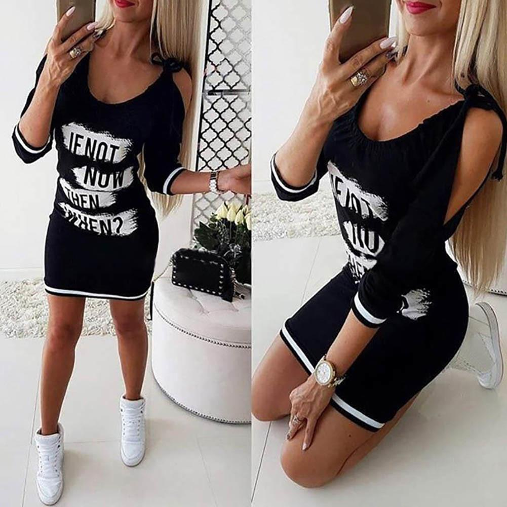 Casual Mulheres Carta Imprimir Cold Shoulder manga longa Slim Fit Bodycon Mini Dr chique
