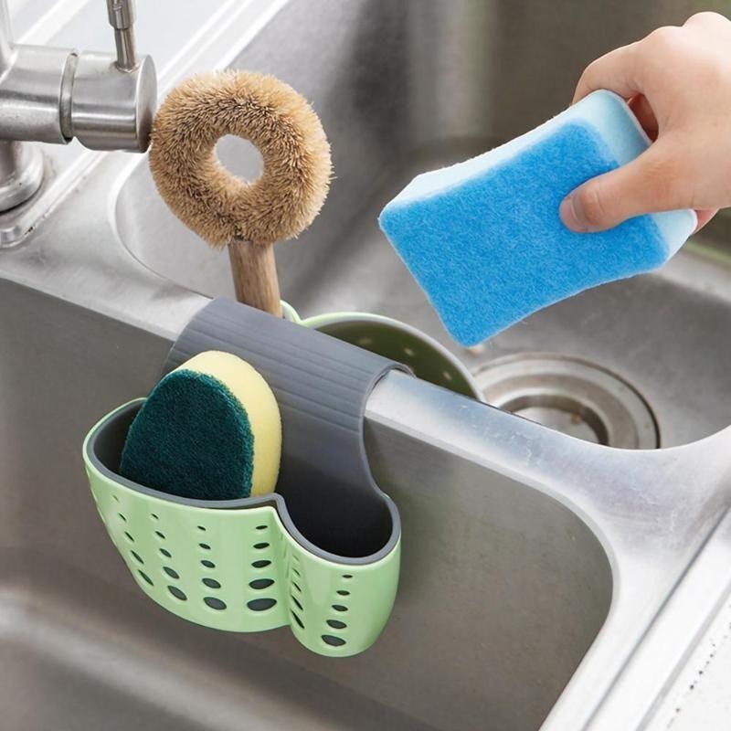 Drainage Basket Rack for Sink Sponge Collection Kitchen Articles Bag Saddle Dual-purpose Sundries Drainage Rack