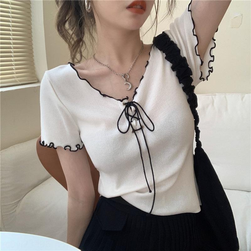 m2ci7 style coréen nouvelle moulants oreille couleur tendance de contraste en bois tricots à lacets clavicule T-shirt à manches courtes T-shirt col V