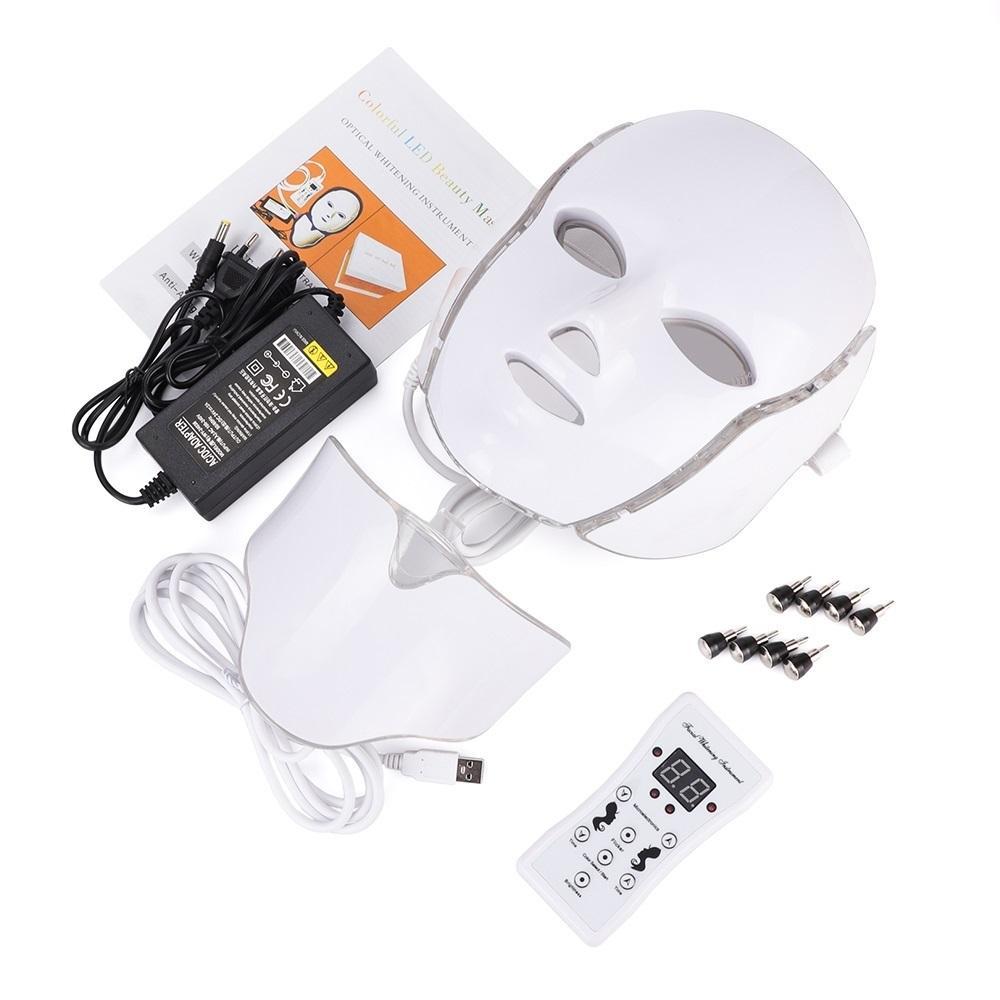 Venda quente LED 7Color Facial Máscara pescoço com EMS Microelectronics LED Photon Máscara Rugas Acne Remoção de rejuvenescimento da pele Face Beauty Spa