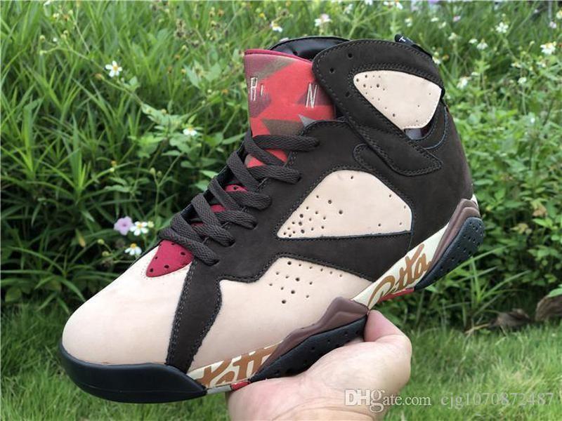 İyi Patta Otantik Sequoia Işık Crimson Mans Spor Sneakers 7'ler Hava 7 OG SP Işıltılı Retro Zor Kırmızı Kadife Kahverengi Erkek Basketbol Ayakkabı x