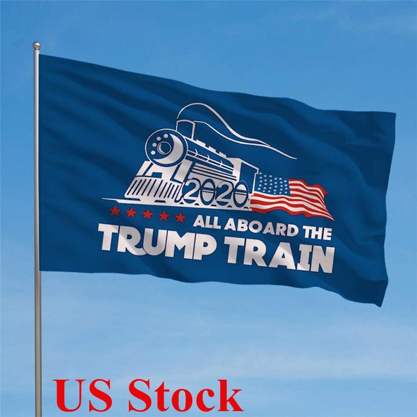 Drapeaux Trump 90 * 150cm polyester imprimé TOUS A BORD DU TRAIN ATOUT Motif 2020 Election Rectangle Bannière Décoration DHL Livraison