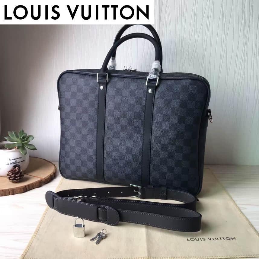 7T5O N41466 Kleine schwarze Karo-Aktenkoffer MEN Handtaschen Schulter MESSENGER BAGS TOTES ICONIC Umhängetasche TOP GRIFFEN CLUTCHESEVENING