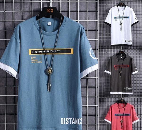 falsificación de algodón de dos piezas de manga corta camiseta de la tendencia de los hombres de media manga 2020 nueva de verano para jóvenes ropa suelta