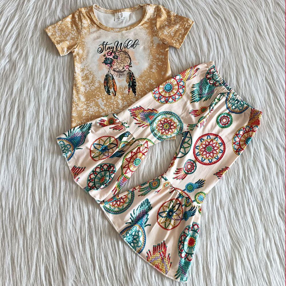 뜨거운 판매 아이 옷 유아 소녀 가을 의상 짧은 소매 벨 바닥 복장 2pcs 귀여운 아기 소녀 디자이너 옷을 설정 우유 실크 부티크