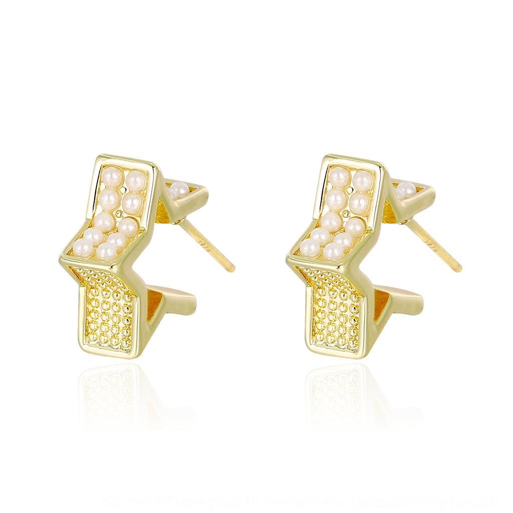 925 moda semplice elegante piccola strada d'argento Star Magazine e orecchini tutto-fiammifero delle donne di tiro a cinque punte orecchini piccola CHztf