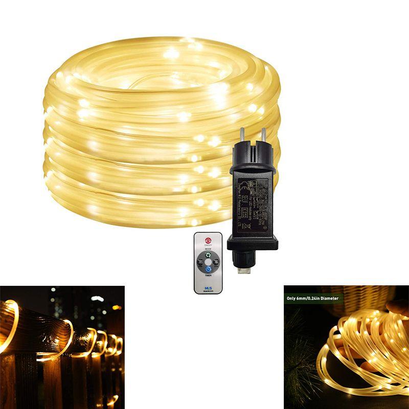 Guirlandes LED corde d'éclairage 8 Modes de commande Flexible Blanc Chaud extérieur Strip Lumières de Noël Grand pour Porche pont Garden Party