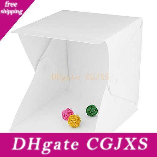 Klappbare tragbare Mini-LED-Fotografie Leuchtkasten Studio-Hintergrund-Knopf Berg Fotografie Box Für Smartphone Dslr Softbox