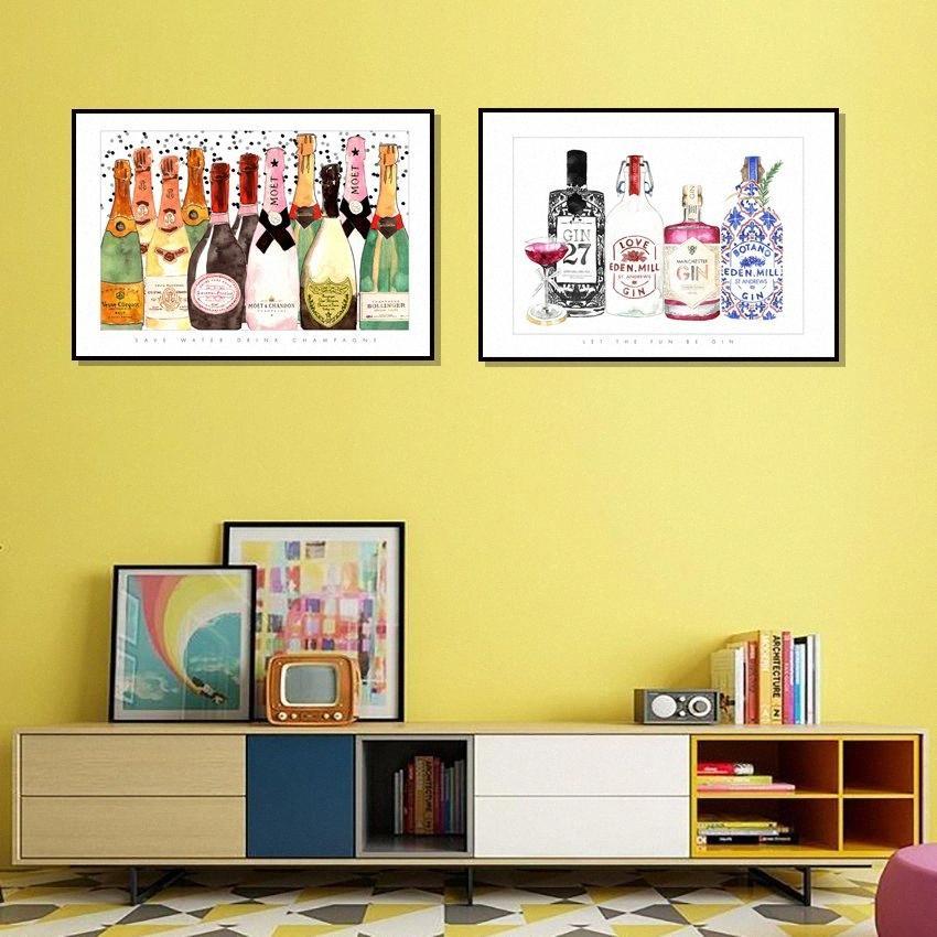 Estilo dos desenhos animados da garrafa de Champagne Pictures Wall Art Modular lona impressão moderna de cabeceira Background Início Prints Decor Pintura X6iM #