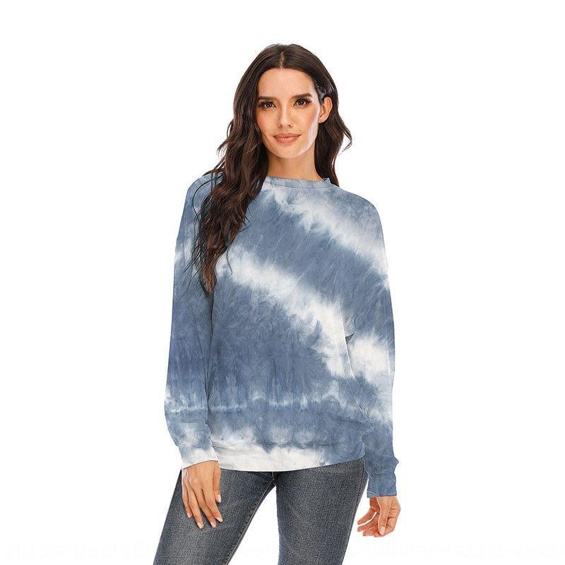 G2atS 2020 осень и зима новый длинный рукав круглый Top футболку свитер шеи галстук окрашенная свитер футболка верхней женской одежды