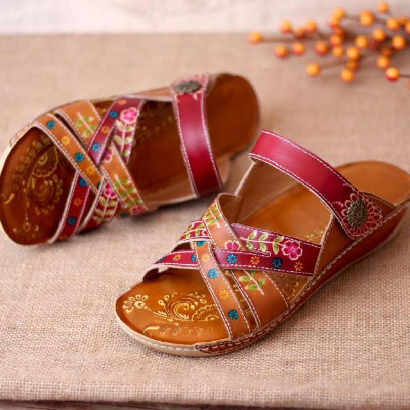YourSeason El Boyalı Kadın Yaz Terlik Gerçek Deri 2020 Slaytlar Dikiş El Yapımı Özlü Kadın Ayakkabı