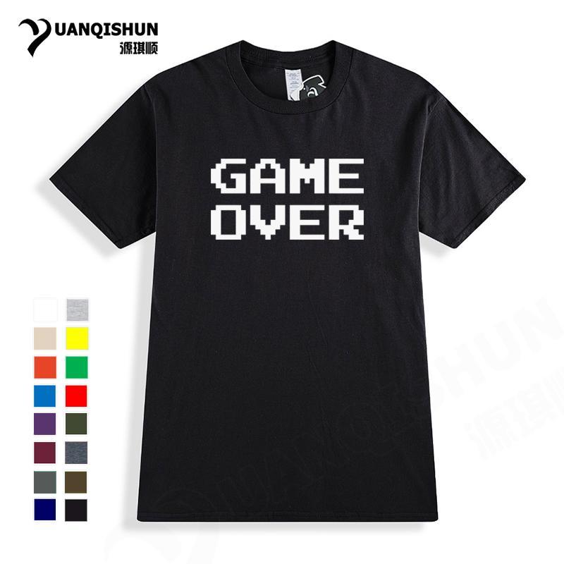 Классический Game Over Graphic T-Shirt Top Quality 16 цветов вскользь с коротким рукавом Hipster Ностальгический Футболка унисекс Топы Мужчины Женщины Тис