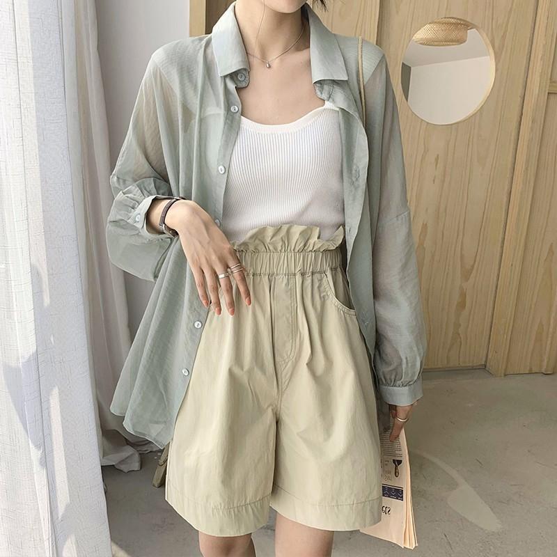 Aqh40 Mid-length à prova de sol camisa do verão cardigã longo da luva das mulheres manga longa tamanho grande transparente fashionab fina feminina casaco cardigan