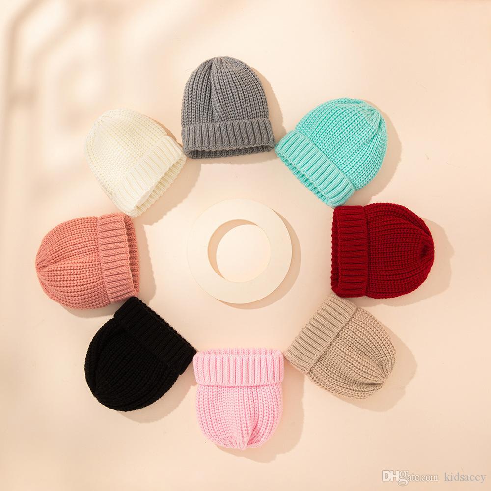 A861 Осень зима младенческая младенческая шапка детей вязаная шапка для девочек мальчиков 0-3 месяца младенцы теплые шапочки шапки 8 цветов