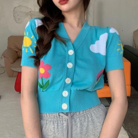 Fun Crianças Rs4kc coreana nuvem T-shirt da flor do arco-íris malha top cardigan Branco estilo verão V-neck emagrecimento das mulheres short curto-sl nn22Y