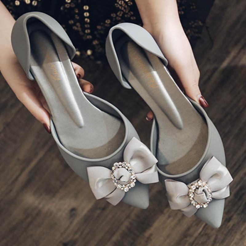 Сандалии Crystal Silk Bow-yelly Jelly Женщины Коренастые каблуки Конфеты Обувь Конфеты Flippers Femmes Sandales Дождь Неустойчивый ПВХ Sandalias 2021