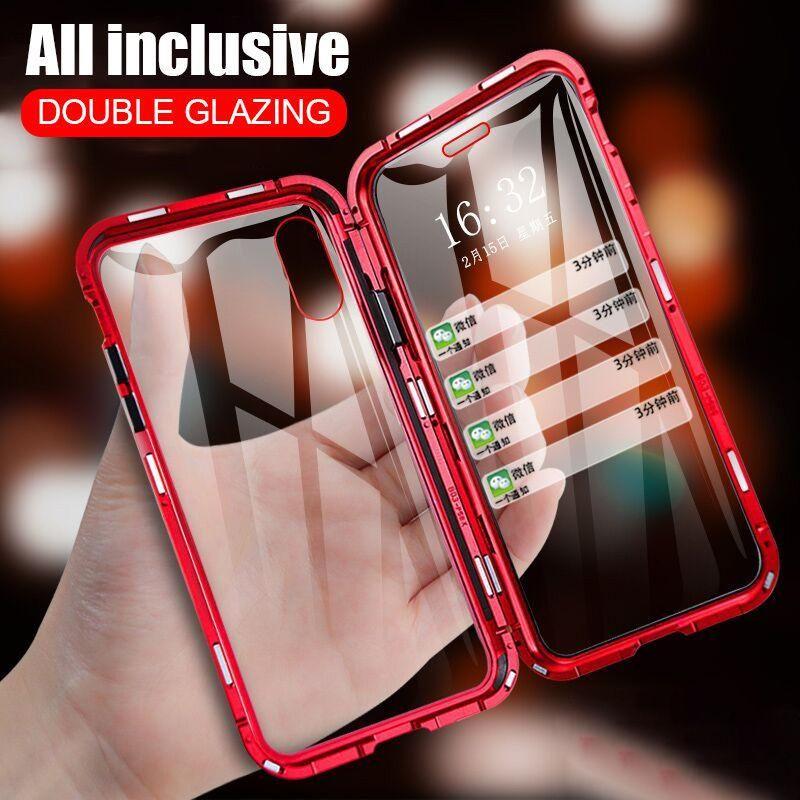 Magnetic Adsorção Metálicos Telefone capa para iPhone XR XS X XS Max 6 7 8 Plus frente e verso da tampa do caso de proteção de vidro temperado completa