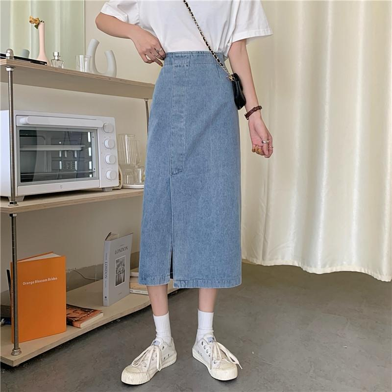 ryKRX Todo-A- línea de vaqueros falda 2020 del verano falda suelta nueva alta cintura que adelgaza la mitad de la longitud de mezclilla ropa de mujer de vestir línea de división A-