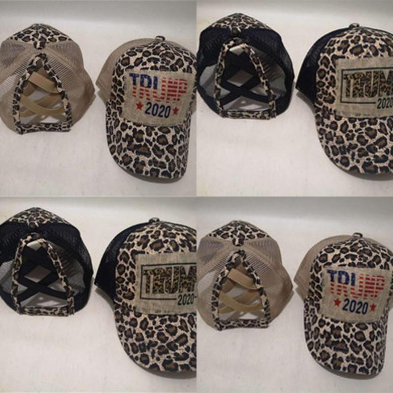 Leopard Print Trump 2020 Cap Fashion Dad Snapback Sun Ponytail Baseball Fitted Hats Kids Adult For Trucker Summer 13nq C2