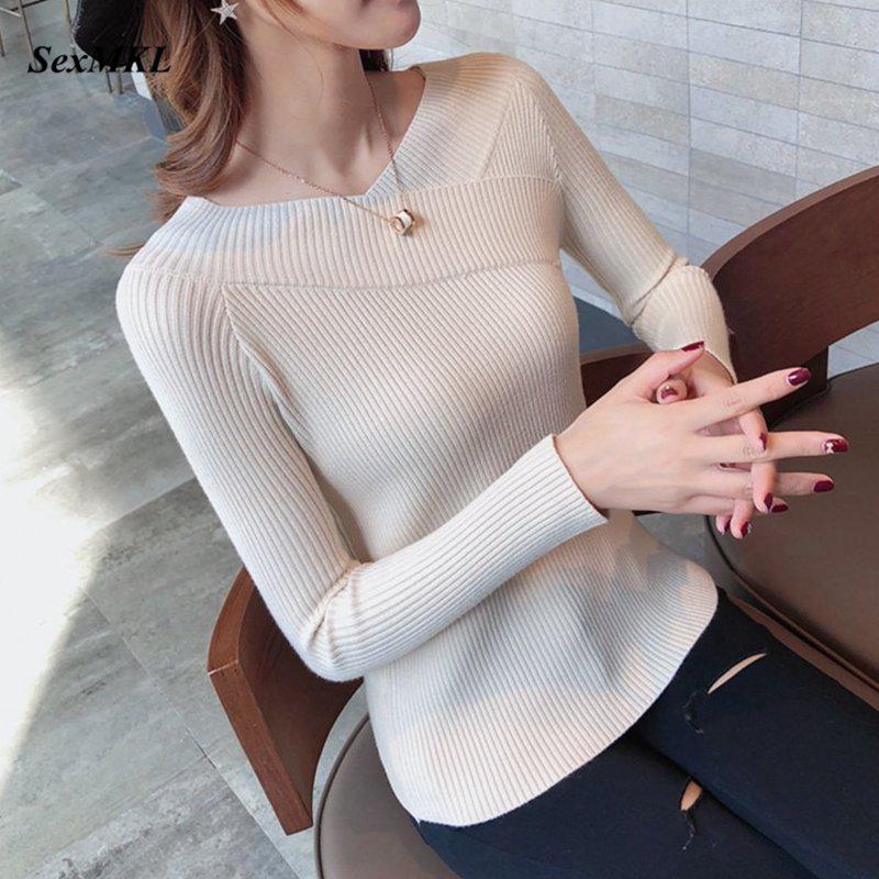 Sexy suéter de las mujeres del invierno 2020 ocasional de la manera V del cuello de punto Pullover negro blanco de las señoras de los puentes suéteres ropa Tire Femme