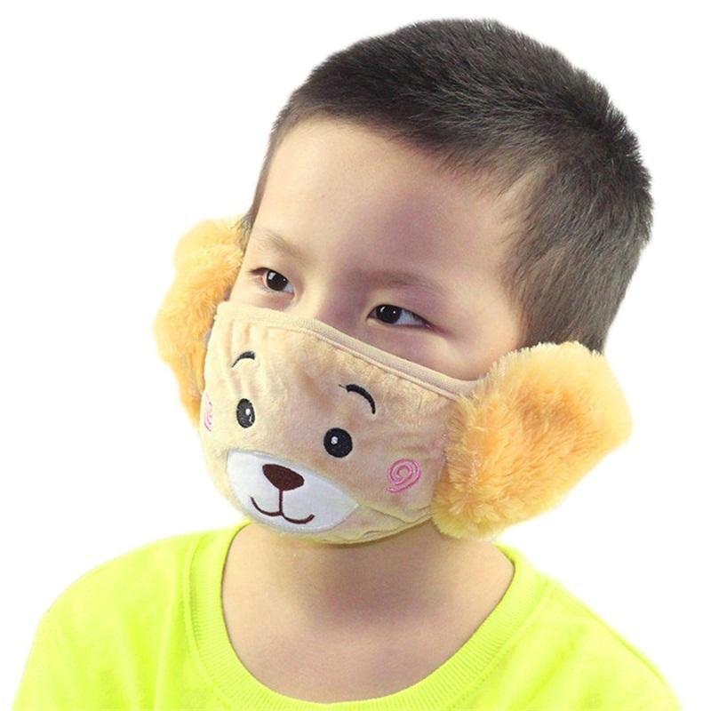 Masque chaud en peluche Casques antibruit Cache-oreilles Deux en un masque pour enfants Cartoon Ours en peluche chaud Masque Ear Protection Earmuffs Deux en un rFnPB