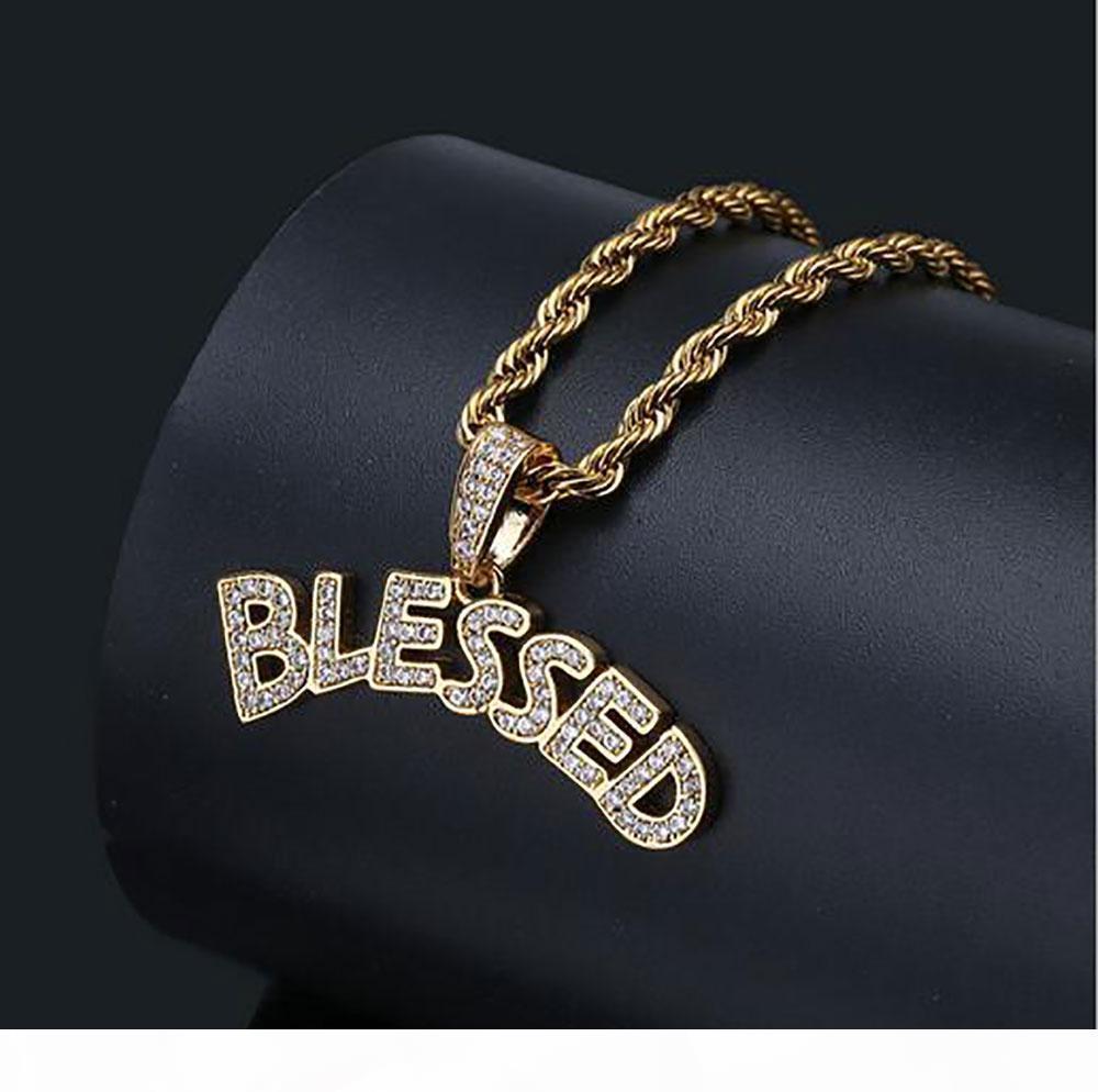 Banhados a ouro 14K Hip Hop Carta abençoado Colar Pingente Mens Micro Pave cúbicos Diamonds Zirconia simulados com corda cadeia 24inch