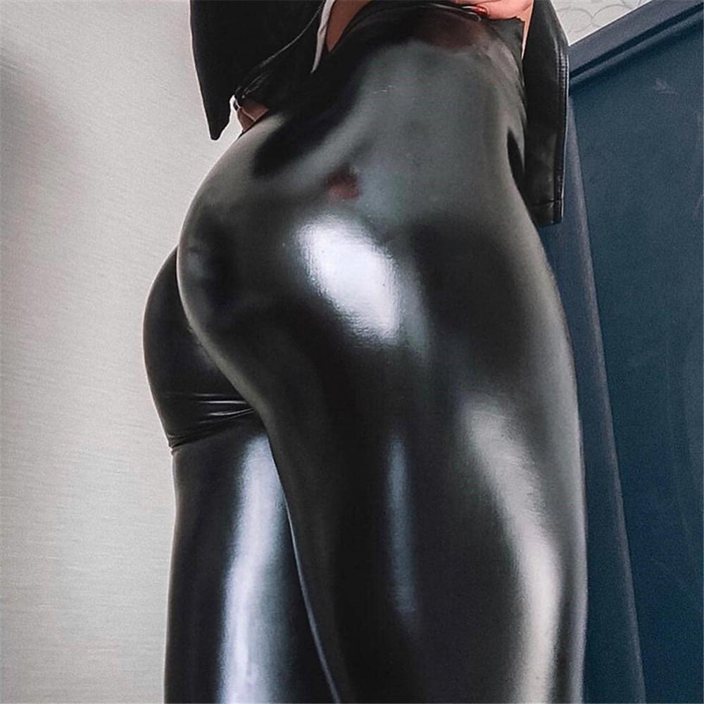 leggings a vita alta delle donne di cuoio njWJk dimensioni dell'unità di elaborazione più i pantaloni di pelle attillati pantaloni stretti delle donne super elastico