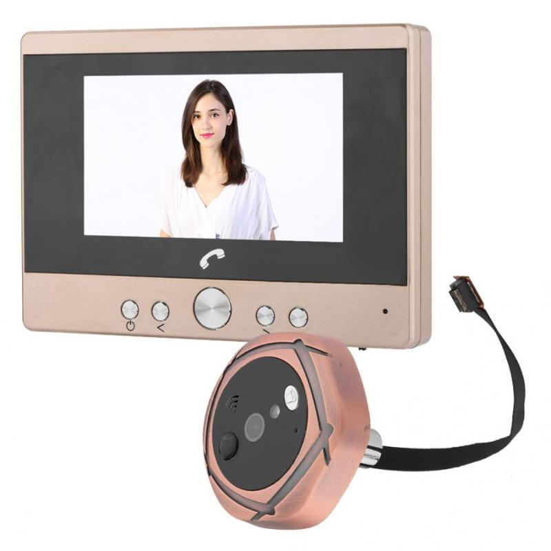 cámara mirilla de 4,3 pulgadas colorido de intercomunicación digital timbre de la puerta del espectador Seguridad para el Hogar timbre deurbel digitales campainha