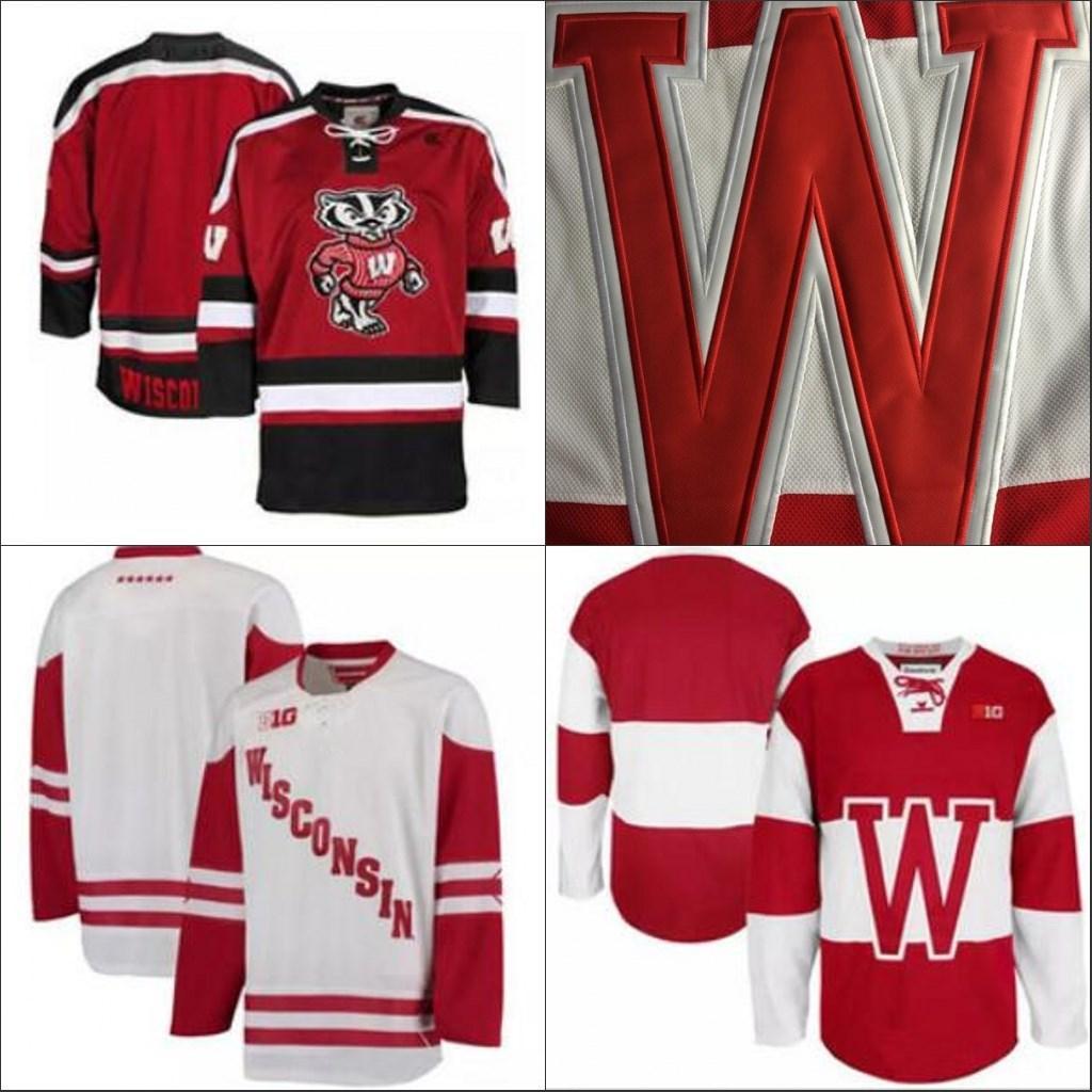 NCAA Висконсин Барсуки колледж хоккея взрослых Белый Красный Stithed Висконсин Барсуки пустой Mens Джерси S-3XL бесплатная доставка