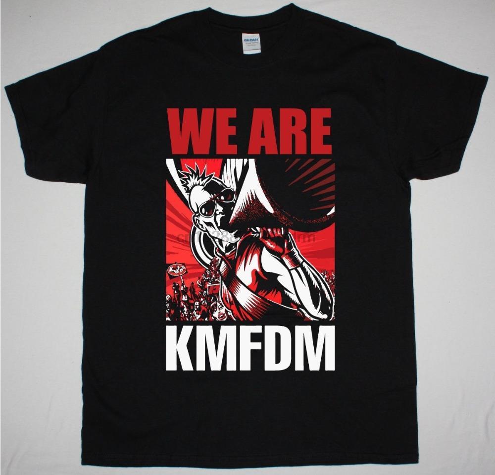Vendita di modo 2018 KMFDM SIAMO DAVANTI 242 EBM NUOVO NERO T-shirt stampate magliette Mens Streetwear