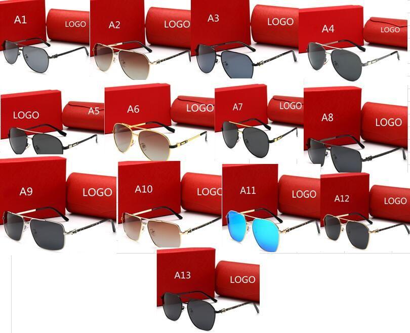 Moda 13 estilos gafas de sol para mujer Gafas marco metálico UV polarizada OCchiali da únicos Firmati gafas de deporte al aire libre con la caja y la caja