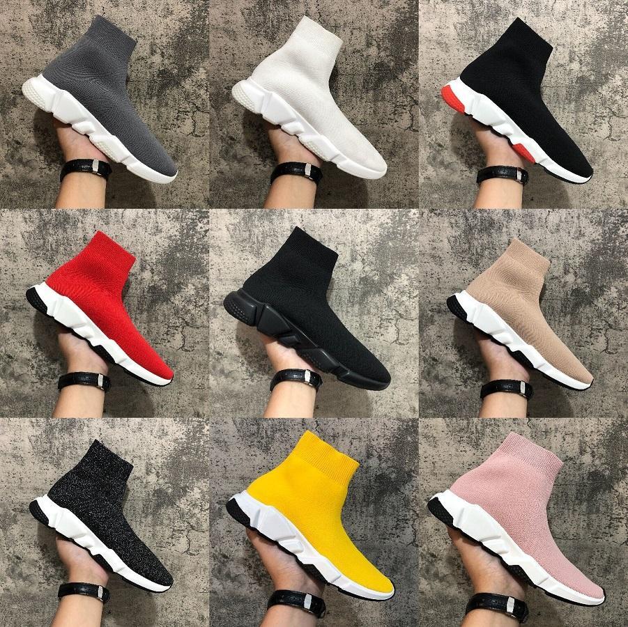 Plate-forme pas cher vitesse Entraîneur des femmes des hommes Sock Chaussures Noir Blanc Rouge Hommes Femmes Baskets mode Qualité Chaussures Casual