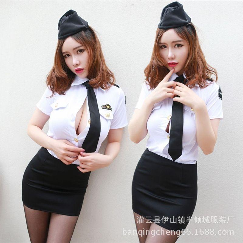 s47JO lLsZx hostes az günaha seksi streç Gece iş İç giyim rol oynayan polis üniforma seksi elbise AV iç çamaşırı