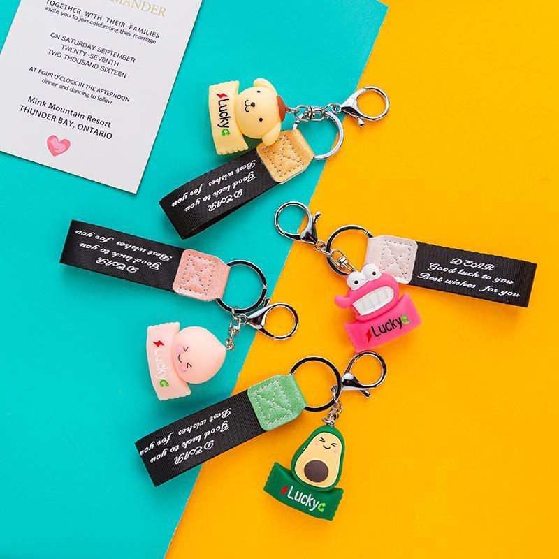 Cartoon Cute Fruit Doll Peach Doll Keychain Couple Bag Key Pendant Silicone Car Key Ring Gift